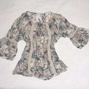 LC Size L Shear Floral Blouse/Tunic